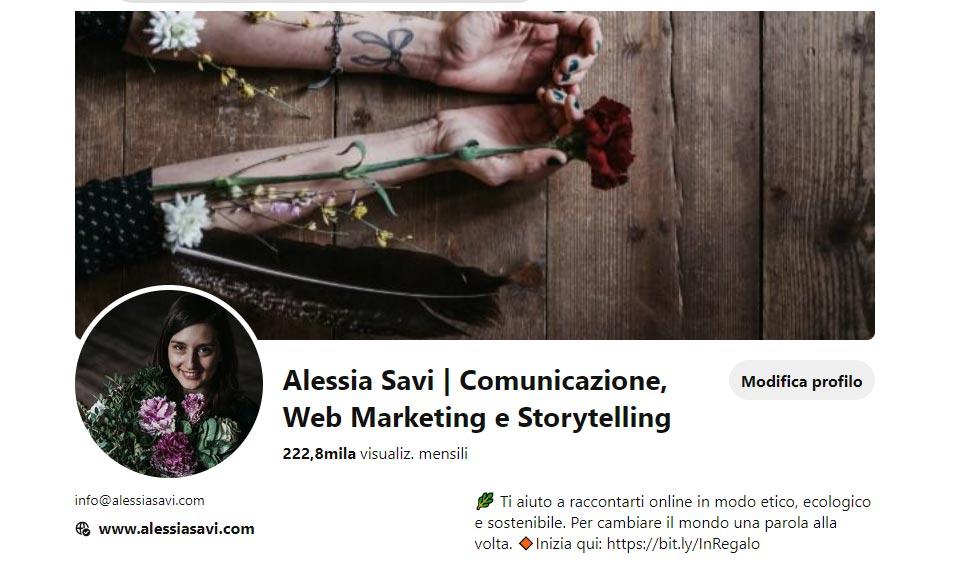 Profilo Pnterest Alessia Savi | Digital Strategist